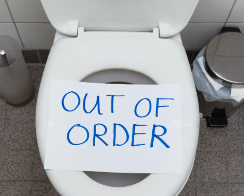 out of order sign on toilet